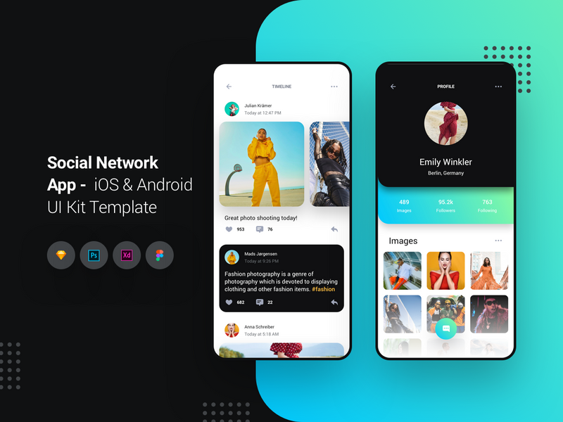 Social Network App - iOS & Android UI Kit Template | Search by Muzli