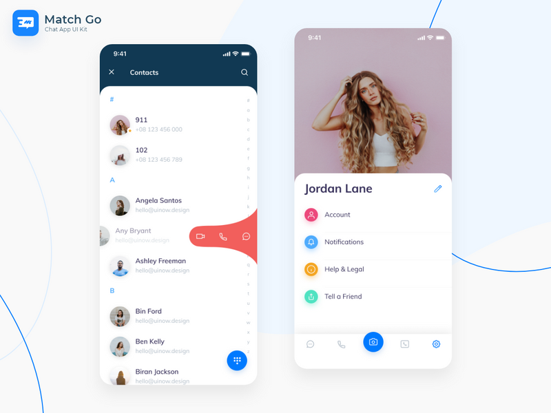 Match Go – Chat App UI Kit | Search by Muzli