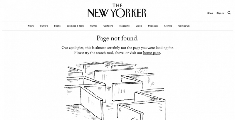 404 error page deisgn example #47: The New Yorker 404 page