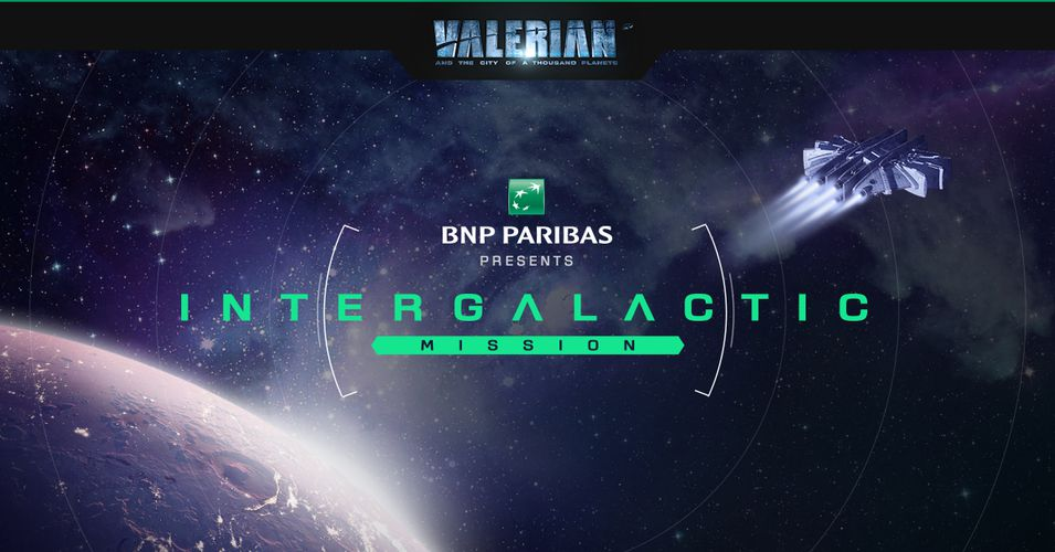 404 error page deisgn example #153: BNP Paribas in partnership with Luc Besson's next movie, Valerian and the City of a thousand planets