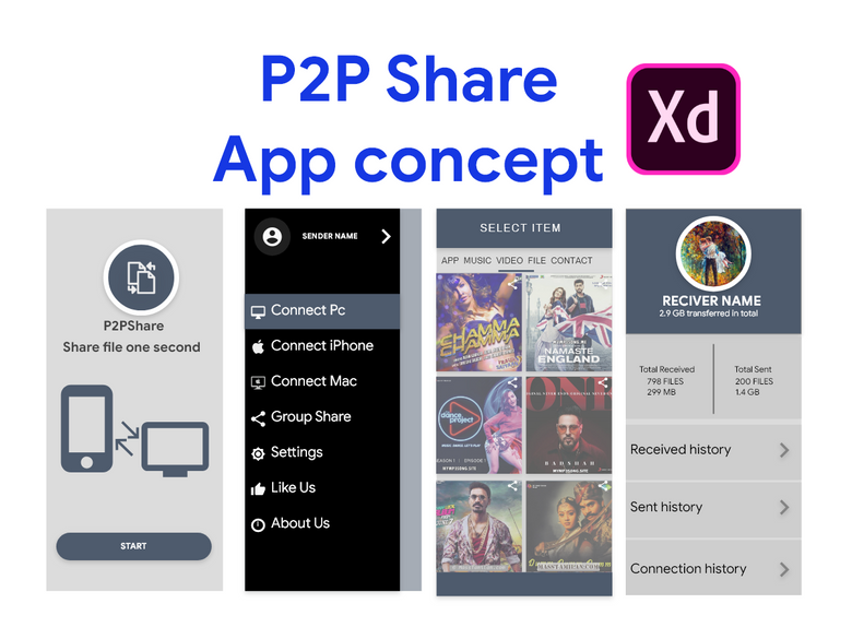 P2P Files Sharing app UI concept | Search by Muzli